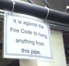 sign on pipe